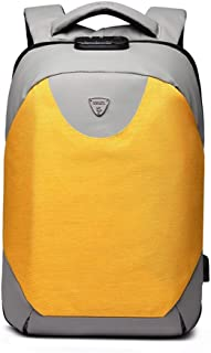 GLJJQMY Backpack Anti-Theft Backpack with USB Charging Interface 15.6-inch Computer Bag Business Leisure Travel Waterproof Student Bag Briefcase (Color : Yellow)