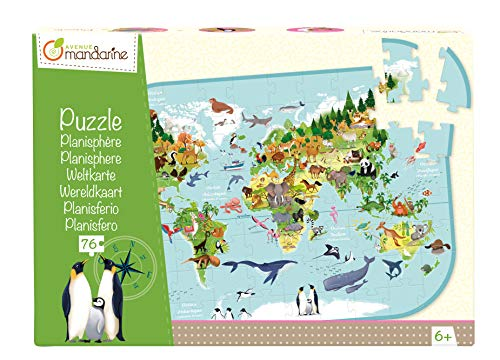 Avenue Mandarine PU014C Puzzle XXL, 72 Teile, mit Poster, ideal für Kinder ab 6 Jahren, 1 Stück, Weltkarte