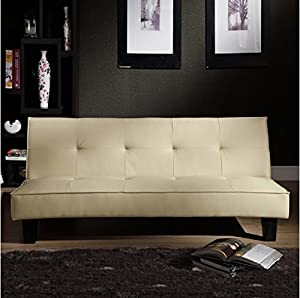 Tapered legs with espresso finish Upholstery Materials: beige faux leather Seat cushion thickness: 7.5 inches Futon sofa dimensions: 31 inches high x 67 inches wide x 38.5 inches deep Futon bed dimensions: 12 inches high x 67 inches wide x 38 inches ...