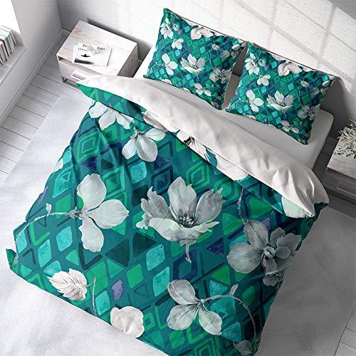 Dekbedovertrek Aqua Flowers - Lits-jumeaux 240x220 CM - Satijn Percal Katoen-Microvezel, Blauw/Groen - DLC - Incl. 2 Kussenslopen van 60x70 CM
