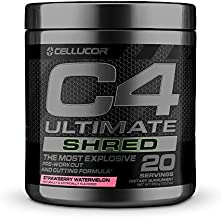 Cellucor C4 Ultimate Shred Pre Workout Powder, Fat Burner for Men & Women, Weight Loss Supplement with Ginger Root Extract, Strawberry Watermelon, 20 Servings