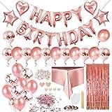 Keten Déco Anniversaire pour Enfants Adulte, Guirlande Happy Birthday, 24 Ballons Confetti et Latex, 4 Cœur D'étoile Ballons, Feuille D'aluminium Rideau et Nappe(Or Rose)