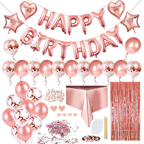 Keten Decorazioni di Compleanno Color Oro Rosa, Palloncini di Buon Compleanno Palloncini con Coriandoli, Palloncini in Lattice And Lamina a Stella, Tenda in Lamina Dorata e Tovaglia Monouso