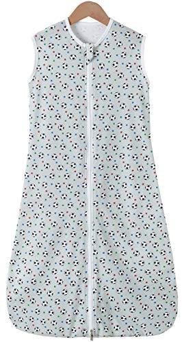 Chilsuessy Sommerschlafsack Baby Schlafsack Kleine Kinder Schlafanzug ohne Ärmel für Sommer und Frühling 100% Baumwolle (150/Baby Höhe 140-160cm, Grau Fußball)