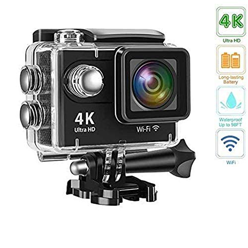 Action Camera 4K Underwater Camera Waterproof 170° Wide Angle WiFi Sports Cam with 1 Battery and Mounting Accessories Kit