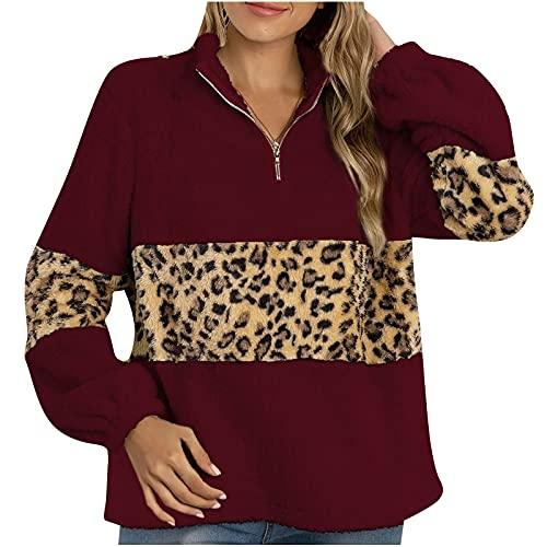 Wave166 Sudadera para mujer con estampado de leopardo, con cremallera, informal, holgada, de manga larga, elegante, para exteriores, rojo, XXL