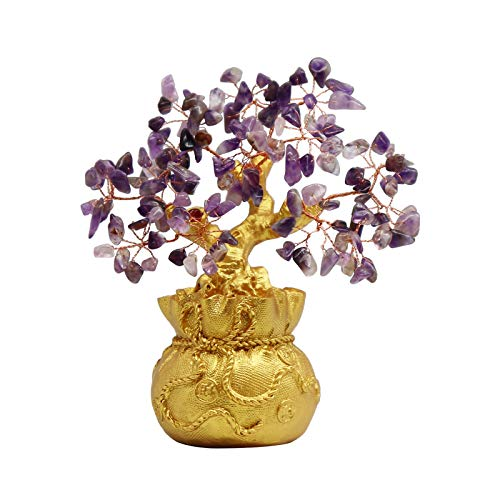 7 Inches Purple Crystal Money-Making Lucky Tree Wine Cabinet Decoration Money Bag Decoration Home Living Room Gathering Wealth feng Shui Money-Making Tree Creative Gifts (Purple)