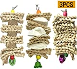 Acidea Parrot Toys Chewing Bird Toy Cuttle Bone Beak Grinding Cage Hanging Bell Toys for African Greys Amazon Conure Eclectus Budgies Parakeet Cockatiel Hamster Chinchilla Rabbit, 3 Pack
