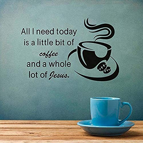 Zbzmm muursticker lettertype Alles wat ik vandaag nodig heb is een beetje koffie, afneembaar vinyl keuken, wandsticker, koffiekopje, wandafbeeldingen, 90 x 58 cm