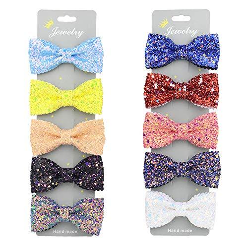 10 Stück bunte Haarspangen mit Schleife, Pailletten, Haarspangen, Krokodilklemmen, glitzernd, für Kinder und Mädchen