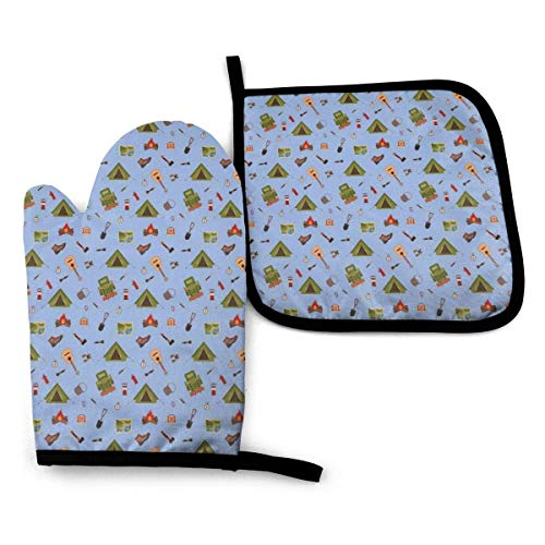 Pamela Hill ~ Oven Mitt & Pot Holders Set Boy Scout Camping Icons Such As Tent Guitar Campfire and Boots Illustration for Children Heat Resistant