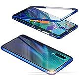 Jonwelsy Hülle für Xiaomi Redmi Note 7 Pro, Magnetische Adsorption Metall Stoßstange Flip Cover mit 360 Grad Schutz Doppelte Seiten Transparent Gehärtetes Glas Handyhülle für Redmi Note 7