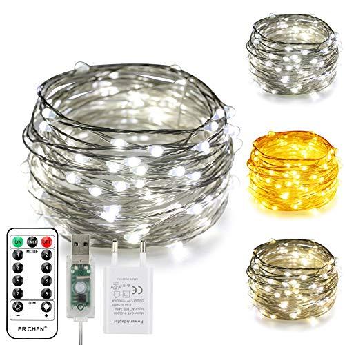 ErChen USB Strom-betrieben Zweifarbige Led Lichterketten, 33 FT 100 Leds Farbe ändern Dimmbar 8 Modi Silber Kupfer Draht-Lichterketten mit Fernbedienung Timer für Innen Außen (Warmweiß, weiß)