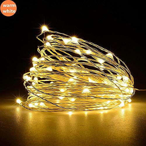 USB-koperdraadlamp, led-koperdraadkoord, 50-ster slaapzaal slaapkamer kleurrijke sterlichten, koperdraadkoordverlichting-warm wit 5 M 50-lampjes