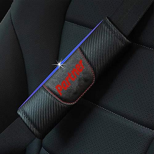 Wlkjhty 2 Piezas Almohadillas para Cinturón de Seguridad Fibra de Carbono para Peug-Eot Partner, con Emblema, Almohadillas Protectores de Coche Hombro