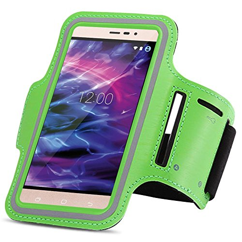Medion Life X6001 Jogging Tasche Handy Hülle Sportarmband Fitnesstasche Lauf Bag, Farben:Grün