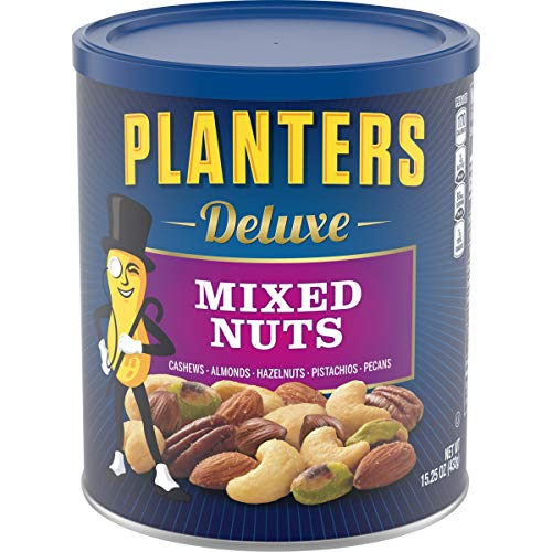 PLANTERS Deluxe Mixed Nuts with Hazelnuts, 15.25 oz. Resealable Canister | Cashews, Almonds, Hazelnuts, Pistachios & Pecans Roasted in Peanut Oil with Sea Salt | Kosher Savory Snack