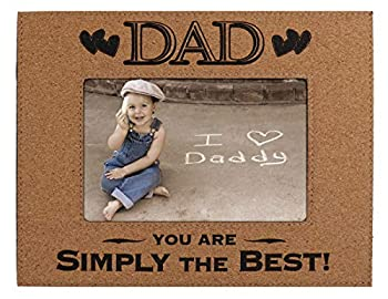 Dad Picture Frame Gift from Daughter or Son – Custom Engraved Cork Glass Photo Frame - Dad You Are Simply The Best - Father's Day Birthday Christmas Xmas Best Ever Present Daddy Pops Papa  4x6 Cork