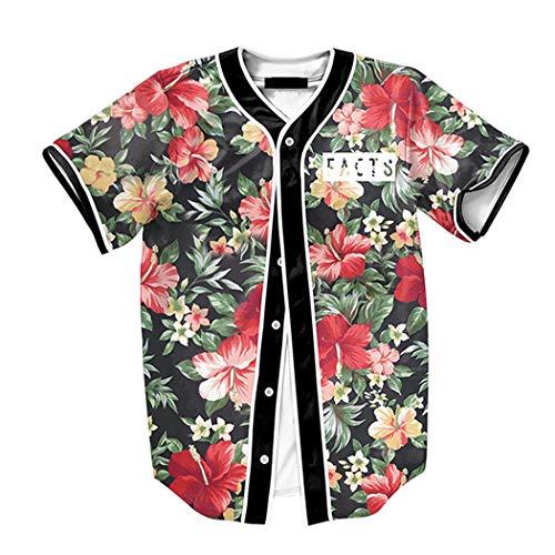 Raylans Camisa de béisbol casual para hombre con estampado floral 3D, de manga corta, con botones, Hombre, BRT-MC011-Color3-XL, Color3., UK L(Tag XL)