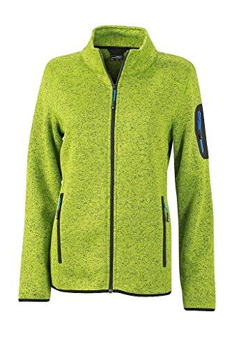 James & Nicholson Damen Modische Strickfleece Jacke mit Stehkragen (XXL, kiwi-melange/royal)