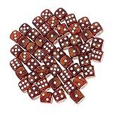 YUANLIN Dados 50 Piezas / Set D6 Redonda Reline Dice 16mm para el rol de Fiesta Jugando Juguete dcc Dados ( Color : Coffee )