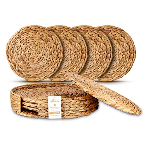 Wovanna Woven Placemats for Dining Table - Set of 4 Adorable Thick Rustic Round Kitchen Placemats with Decorative Round Holder – All Natural Wicker Tablemats Hand-Braided from Water Hyacinth, 15
