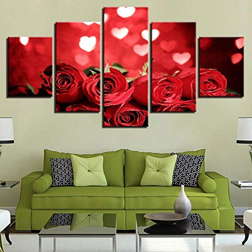 TXFMT canvas zonder frame, decoratie, handgemaakt, modulair, afbeeldingen, wand, kunstdruk, 5 panelen, lichtgevend, roze, bloemen, canvas, decoratie voor huis, woonkamer, 5 wandpanelen 150*100CM