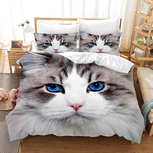 Evvaceo Child Bedding Set Duvet Cover And Pillowcase Modern Grey Blue Eyes Cat Animal 220 Cm X 260 Cm 3D Print Bedding 3-Piece Set Zipper Closure Teens Boy Girl Baby Superfine Fiber Preve(Super King)