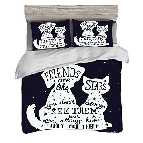 Bettwäscheset King Size (220 x 240 cm) mit 2 Kissenbezügen Hund Mikrofaser-Bettwäsche-Sets Freunde sind wie Sterne Zitat mit Silhouette von Haustieren auf einem Raum unter dem Motto Hintergrund,Indigo