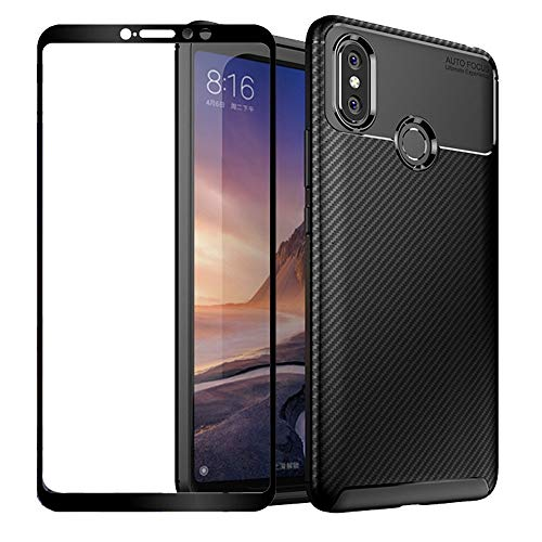 BetterAmy for Xiaomi Mi Max 3 Case,Anti-Slip Shockproof Armor Slim Fit Protective Soft TPU Silicone Gel Bumper Back Phone Case Cover+Tempered Glass Screen Protector,Black