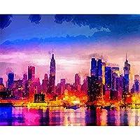 DIY数字油絵 塗り絵キット パズル油絵 都市の建物 デジタル油絵 手塗り 数字キットによる絵画 絵かき インテリア 壁飾り ホームデコレーション 40x50cm(額縁なし)