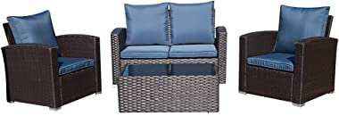 JOIVI Patio Furniture Set, 5 Piece PE Rattan Sectional Outdoor Conversation Sofa Set with Black Wicker, Coffee Table with Tem