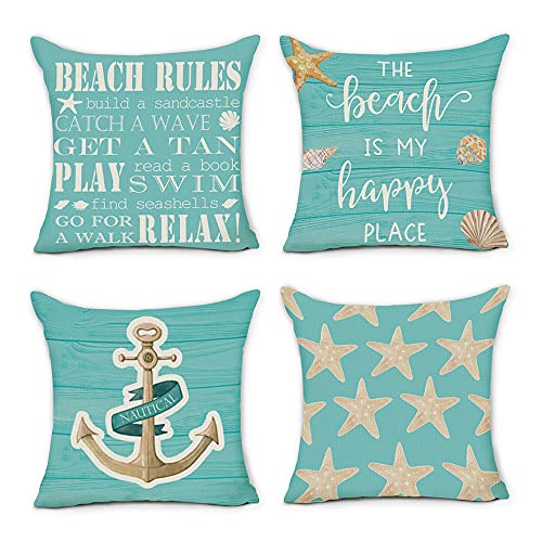 pinata Beach Pillow Covers 20x20 Set of 4, Coastal Nautical Anchor Summer Blue Turquoise Outdoor Decorative Throw Pillows Cases Ocean Starfish Seasonal Decor for Home Couch Sofa Square Cushion Covers