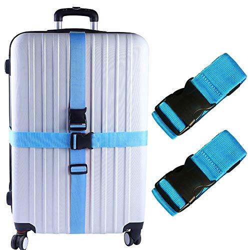 Cinturón de maleta de nailon ajustable con 2 maletas de viaje, talla única (azul)