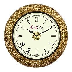 eCraftIndia Round Wooden Analog Carving Wall Clock (36 cm x 36 cm, Golden, WOWWACM1406_R)