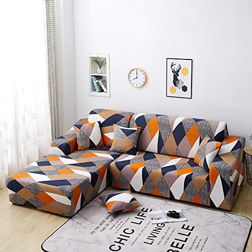 Copridivano con Penisola Elasticizzato Chaise Longue Copridivano Angolare Antimacchia Sofa Cover componibile in Poliestere a Forma di L 2PCS, Federe Protettive per Divano(Geometria,2 Posti+2 Posti)