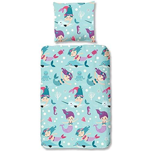 Aminata Kids süße Biber-Bettwäsche-Set Meerjungfrau Nixe, Mädchen 135x200 cm + 80x80 cm, Baumwolle mit Reißverschluss, unsere Kinder-Bettwäsche Meerjungfrauen & Nixen-Motiv ist warm & weich, türkis