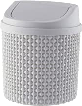 JJZXD Trash Can - Fashion Mini Plastic Wave Cover Counter Top Trash Can,Recycling Trash Can,14.5x16.5cm