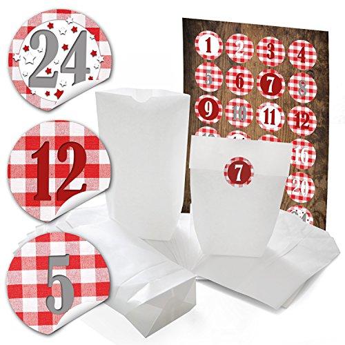 Voor 2 kalender 48 witte cadeautjes zakjes kerstmis 14 x 22 x 5,6 cm + 48 stickers, 4 cm rood wit geruit cijfers 1 tot 24 voor adventskalender om zelf te knutselen en vullen