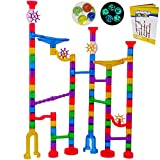 Marble Run Sets Kids Activities : Translucent Race Maze Track Games , Fun Glow in Dark Glass Marbles Galaxy , Indoor Educational Learning Building Construction STEM Toy Gift Boy Girl All Ages