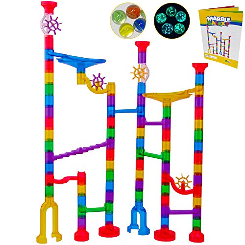 Marble Run Sets Kids Activities - Translucent Race Maze Track Games - Fun Glow in Dark Glass Marbles Galaxy - Indoor Educational Learning Building Construction STEM Toy Gift Boy Girl All Ages