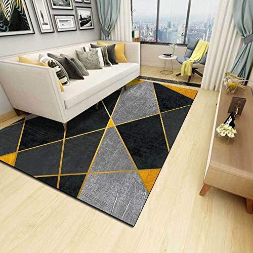 VGFGI Geométrico Negro Gris Dorado línea Costura Cocina Sala de Estar Dormitorio cabecera impresión 3D Antideslizante Sala de Estar área de decoración Alfombra Felpudo