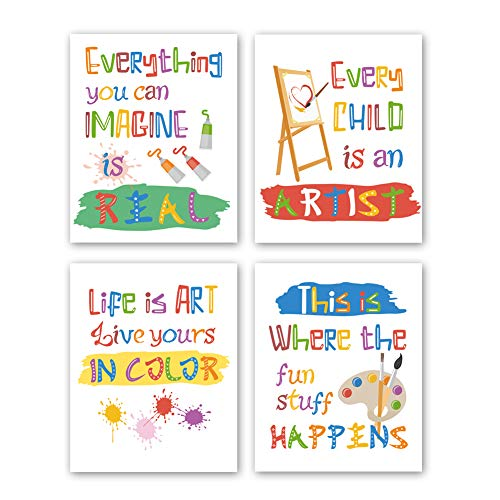 CHDITB Unframed Colorful Art Print Inspirational Quotes&Saying Painting Watercolor Words Wall Art,Set of 4(8''x10'') Canvas Ink Splatter Palette Picture for Study Kids Room Classroom Decor