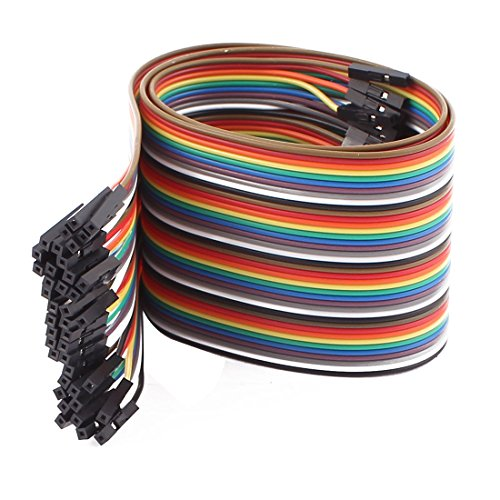 Uxcell a16072600ux1043 Female to Female 40P Jumper Wire Ribbon Cable Pi Pic Breadboard DIY 50cm Long