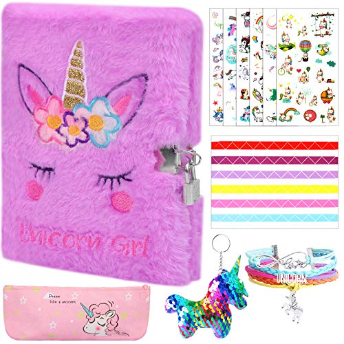 Hicdaw 11Pcs Plush Diary with Lock for Unicorn, Journal Set with Notebook Pencil Case Keychain Bracelet and Photo Stickers for Girls Kids Writing and Drawing