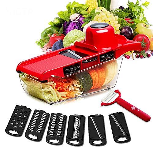 ZUEN Hachoir à légumes, Mandoline Slicer, 6-en-1 Multi-Fonction en Acier Inoxydable récipient Alimentaire, éplucheur, Protecteur de la Main, tranches d'oignon de Tomate de Pomme de Terre