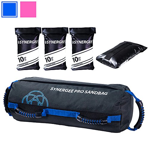 Synergee Pro Buff Blue Adjustable Fitness Sandbag with (3) Filler Bags Adjustable up to 40lbs. Heavy Duty Fitness Weight Bag