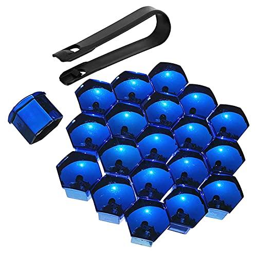 Bseical 20 Stücke Schraubenabdeckung,Radmutter Kappe Universal für Schrauben mit Entfernung Werkzeug Set für Autos,ABS Abdeckkappen für Schrauben KFZ 17mm丨19mm丨21mm Galvanikprozess (Blau, 17mm)