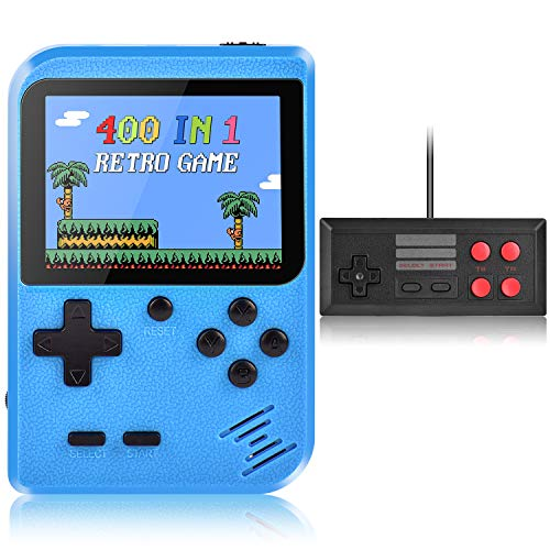 Handheld Game Console Kiztoys Retro Video Games Console for kids with 400 Classic Games Supporting 2 Players and TV Connection 800 mAh Rechargeable Battery
