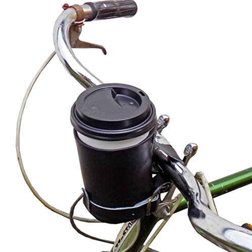 Hide & Drink, Cruzy Leather Bike Handlebar Cup Holder, Insulated Beverage Pouch for Commuters, Bikers, Cyclers, City Nomads, Urban Nomad Handmade Includes 101 Year Warranty :: Charcoal Black